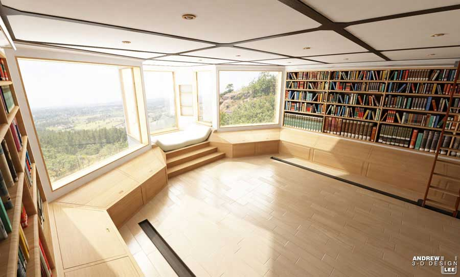 Large Space Home Library Nature View