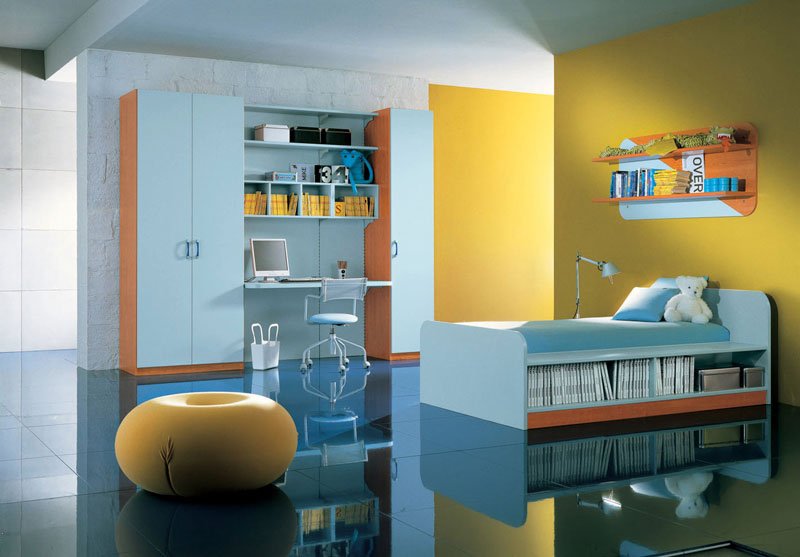 Light Blue and Yellow Kids Room Ideas