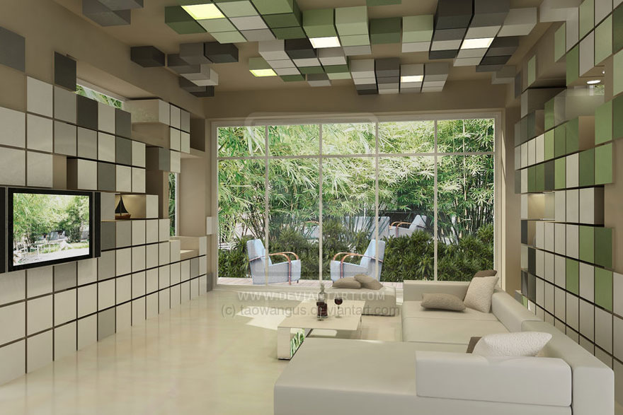 Living Room 3D Pixel Wallpaper Decoration