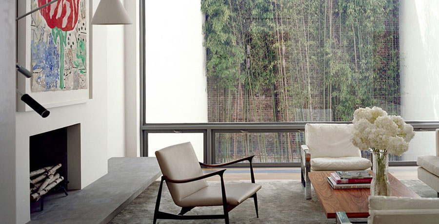 Living Room Area with Urban Garden View