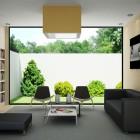 Living Room Library View Backyard