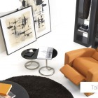 Living Room Recliner with Orange Sofas