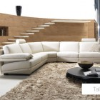 Living Room Sofa Furniture with Wood Wall and Minimalistic Stairs