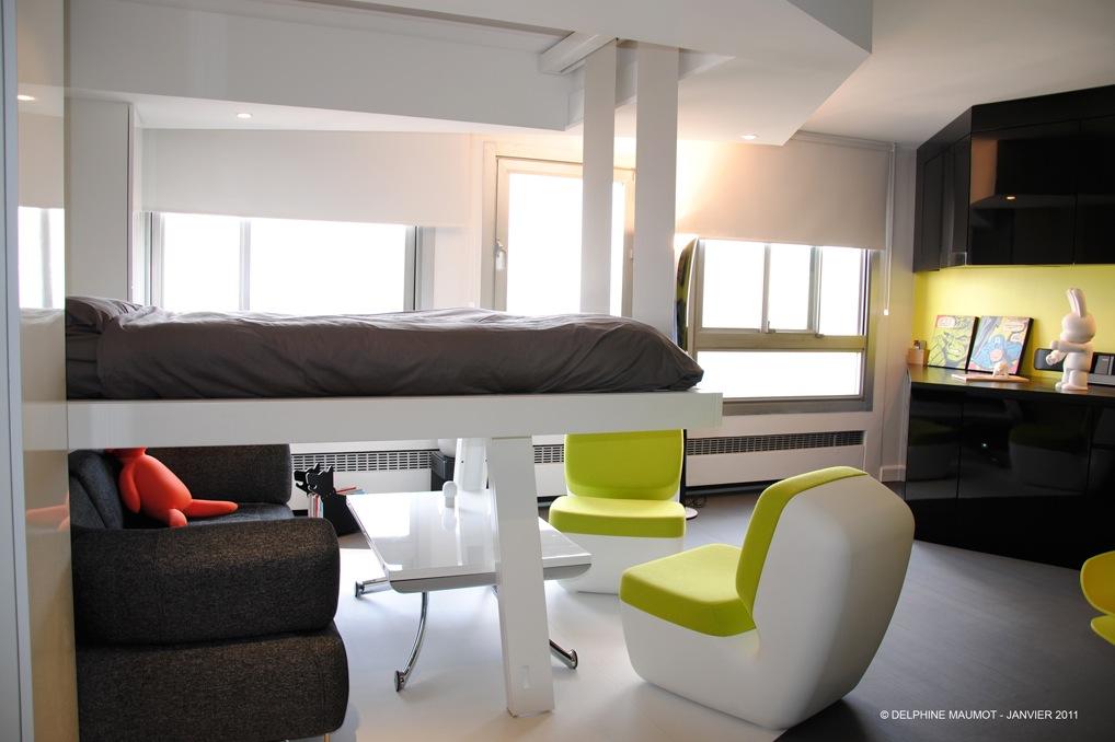 Loft bedroom small space area with green accent interior for Small loft interior design ideas