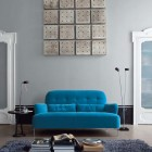 Luxurious Living Room with Blue Couch Square Wall Decor
