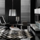 Luxury Black Living Room with Zig Zag Rugs