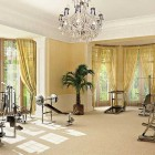 Luxury Home Gym Ideas with Chandelier