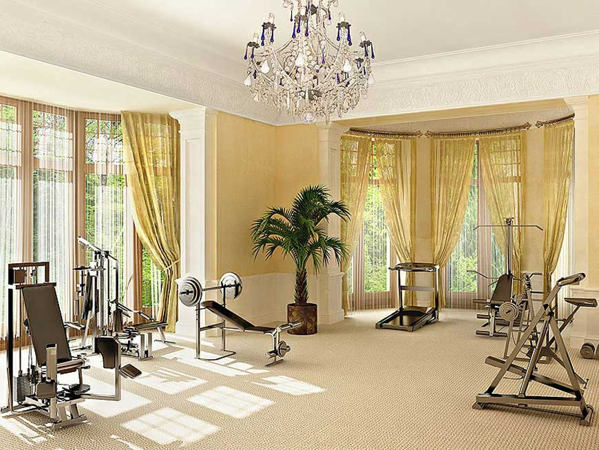 Luxury Home Gym Ideas With Chandelier Interior Design Ideas