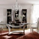 Luxury Italian Glass Top Dining Table with Chandelier