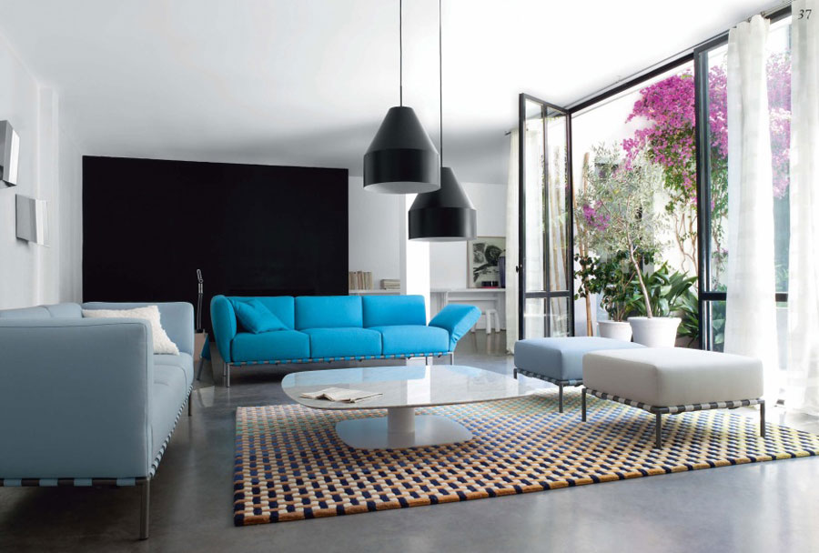 blue black and white living room luxury living room with black lamps blue and white sofas 25964