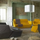 Luxury Living Room with Orange and Brown Sofa Collection