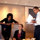 Michelle and Barack with Staff in Air Force One