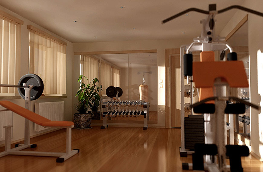 Minimalistic small home gym design interior ideas