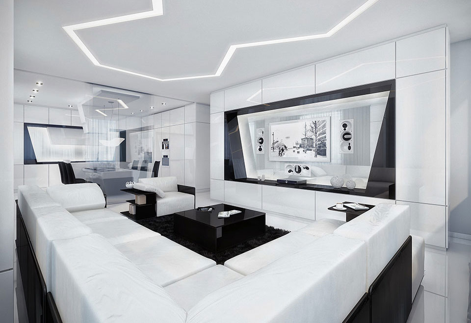 Modern And Futuristic Black And White Apartment Architecture Interior Design Design Ideas