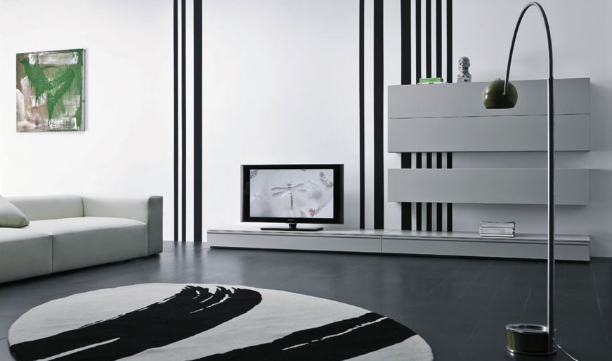 Modern box cabinet for lcd tv in living room interior for Lcd cabinet designs for living room