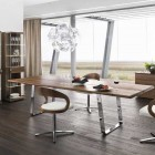 Modern Dining Table Sustainable Natural Wood Chrome with Grain Farm View