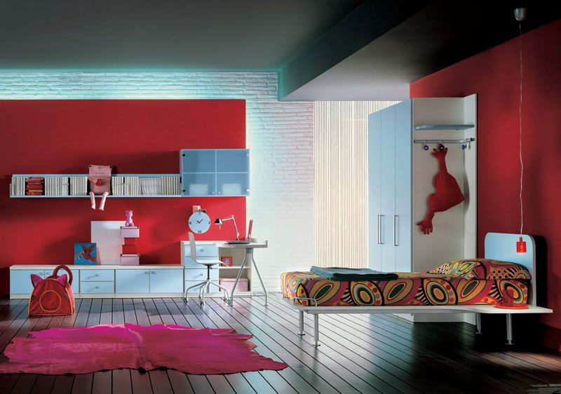 Modern Girl Bedroom With Pink Rugs Interior Design Ideas