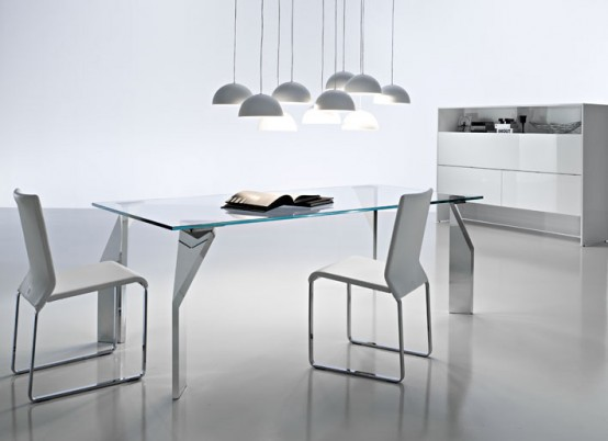 Modern Glass Top Dining Table with Modern Chandelier