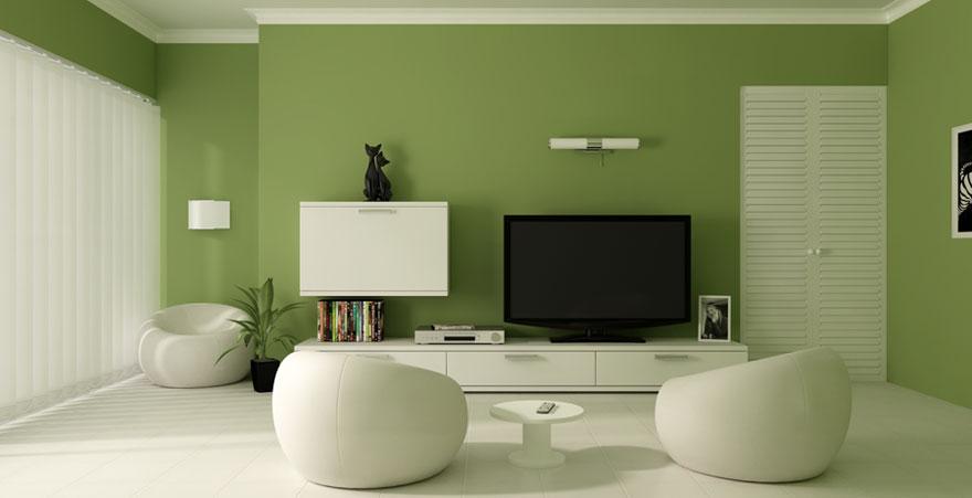 Modern Green Paint Color Living Room Design