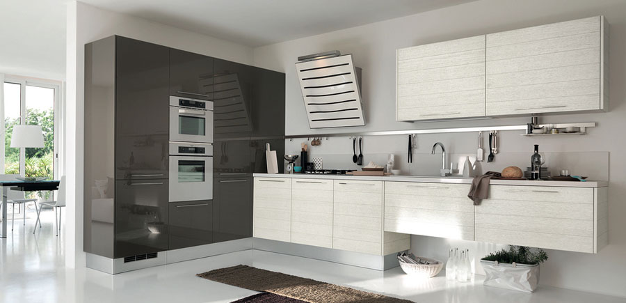 Modern Grey and White Kitchen with Oven