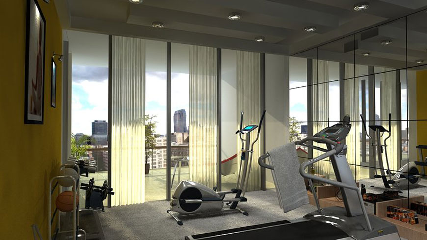 Modern Home Gym in Balcony by Reshma Artwork