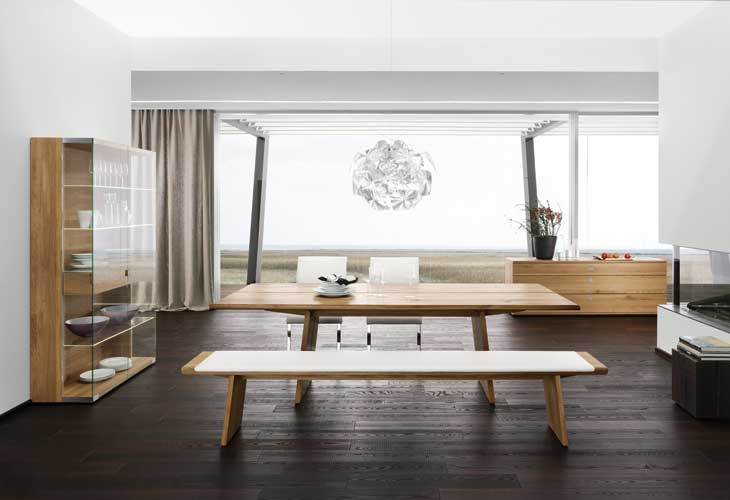 Modern Home Loft Style Dining Set Mahogany Floors with Crystal Chandelier and Glass Wall