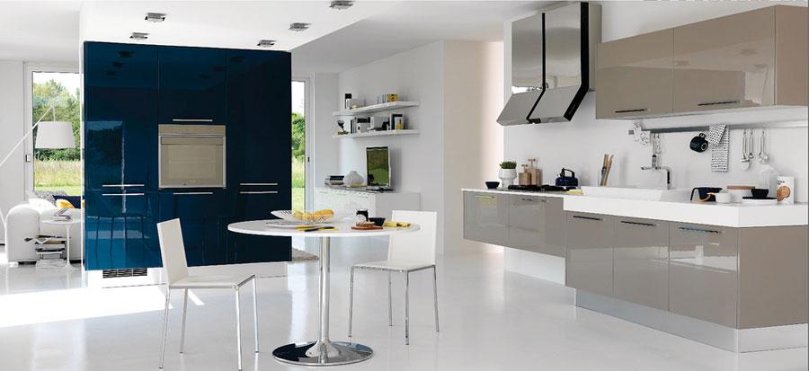 Modern kitche design with blue wall decor interior design ideas