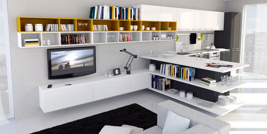 Modern Kitchen Open to Living Room with Black Rug and Yellow Bookchase