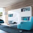 Modern Living Room with White shelf and Blue Sofas