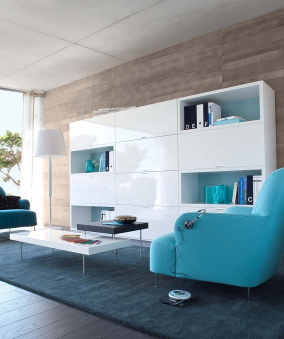 Modern Living Room With White Shelf And Blue Sofas Interior Design Ideas