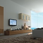 Modern Living Room with Wooden Wall Unit Furniture