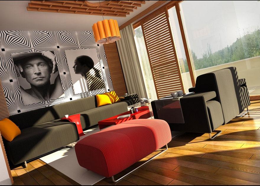 Modern Loud Colors Living Room Design