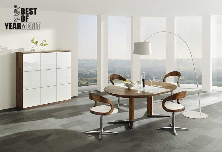 Modern Natural Dining Room Set Stone Flooring with Minimalistic Lamp