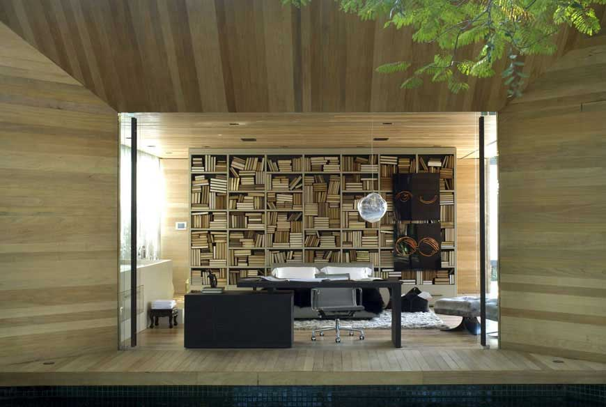 Modern Open Library Space with Wood Wall Decor