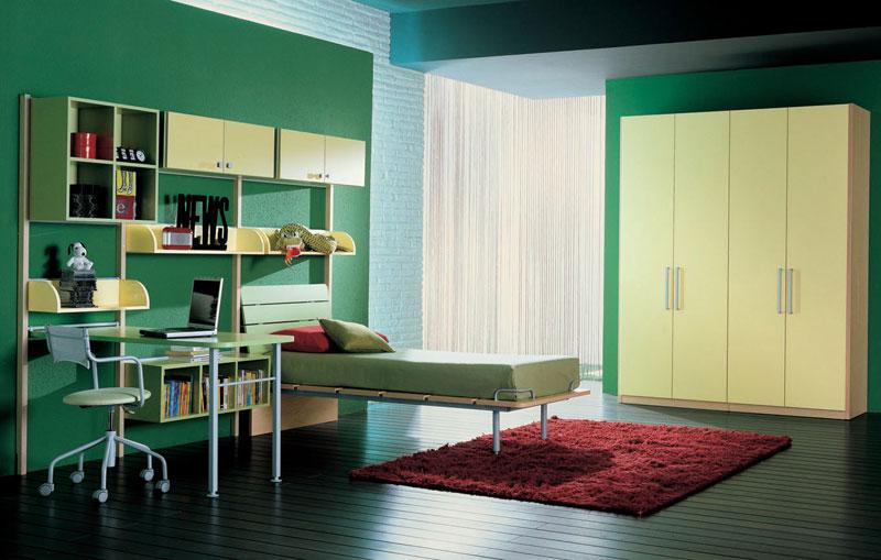 Modern Study Desk in Green Bedroom