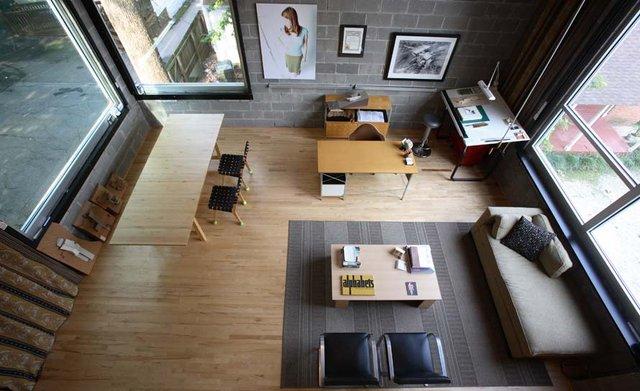 Modern Study Workspace with Cinder Block Wall Decor ...