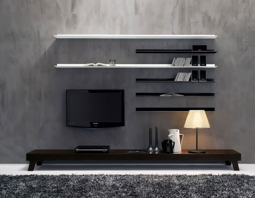 Minimalist living room with modern wall units living for Minimalist wall