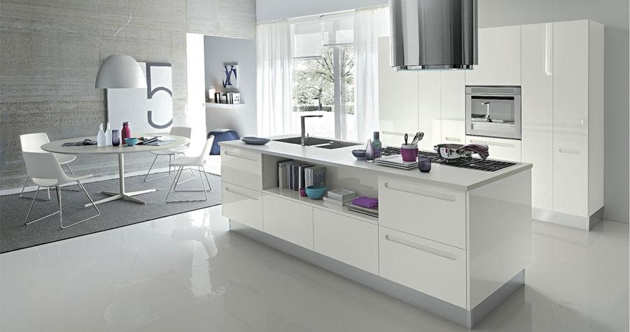 Modern White Kitchen with Purple Ornaments 2011
