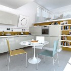 Modern White Kitchen with Soft Color Blue and Yellow