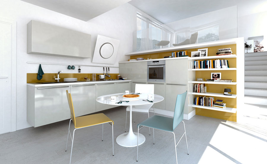 Modern White Kitchen with Soft Color Blue and Yellow ? Grey White