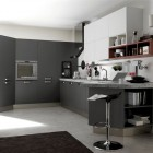 Modern White and Red Kitchen Open with Black Stiped Rug