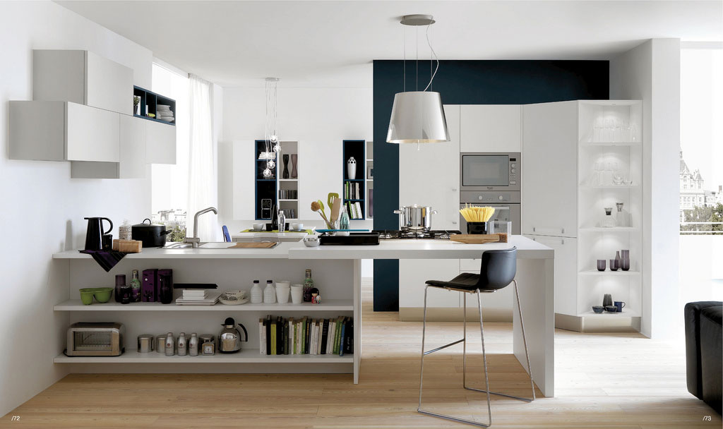 Modern White And Wood Kitchen With Mini Dining Table Interior Design Ideas