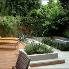 Modern Wooden Deck with Beautiful Garden with Twin Floor