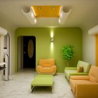 Modern Yellow and Green Living Room Design with Good Lighting
