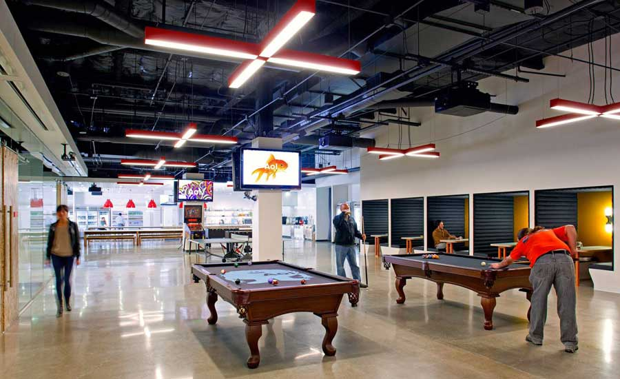 new aol creative office lounge with pool table interior