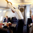 Obama in Air Force One Cabin