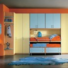 Orange Bunkbeds Kids Room with Modern Study Desk