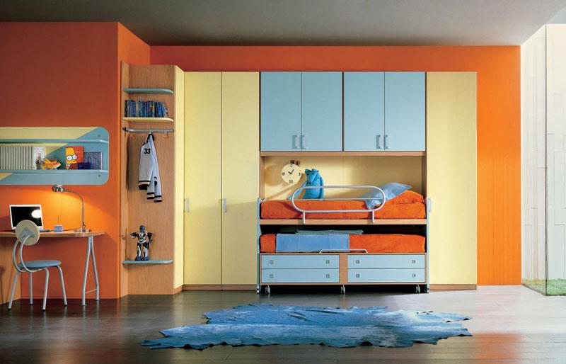 Orange Bunkbeds Kids Room with Modern Study Desk