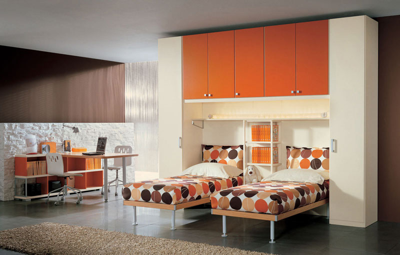 Orange Cool Kids Room with Twin Beds