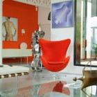 Orange Wall Decor with Modern Orange Chairs